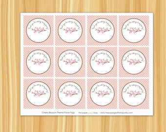 Cherry Blossom Favor Tags | Cherry Blossom Party | Cherry Blossom Birthday