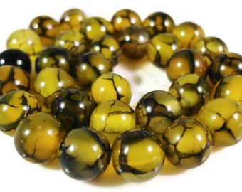 Dragons Vein Agate Gemstone Beads 6mm Round Black and Yellow Fire Agate Semiprecious Stone Beads on a 7 1/4 Inch Strand with 31 Beads