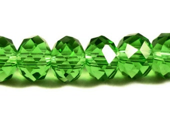 Green Crystal Beads 8x6mm (6x8mm) Grass Green Faceted Rondelle Chinese Crystal Beads on an 8 Inch Strand with 36 Beads