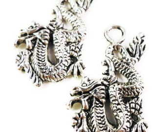 Silver Dragon Charms 27x15mm Antique Silver Tone Metal Dragon Charm Pendant Jewelry Findings 10pcs