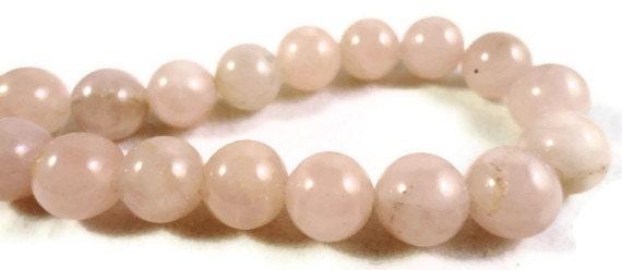 Rose Quartz Gemstone Beads 10mm Round Pink Semiprecious Stone Beads on a 7 1/2 Inch Strand with 19 Beads