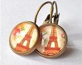 paris earrings,  romance,  roses, dangle drop,  eiffel tower