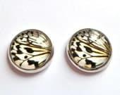butterfly wings stud earrings silver photo post