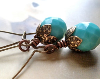 turquoise earrings every day antique brass extra long dangle drop  blue