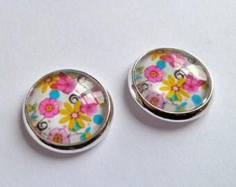 retro flower earrings, silver stud,  post   gift bag