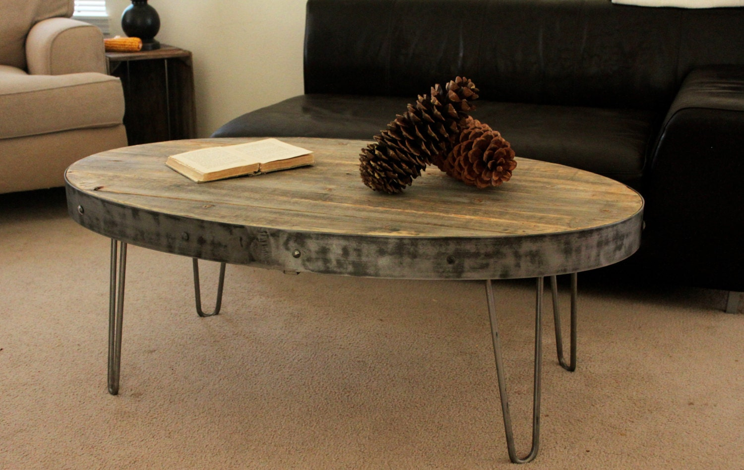 Reclaimed coffee table oval table industrial for Reclaimed coffee table