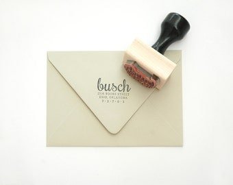 "Custom ""Calligraphy"" Return Address Stamp - for Gifts, Invitations, Housewarming, Announcements - Wood Mounted with Handle OR Self-Inking"
