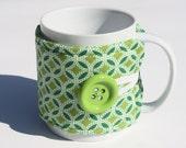 Fabric Cup Cozy -  Mug Cozy, Coffee Cozy, Tea Cozy, Mug Sleeve, Tea Cup Sleeve, Lime Green, Reusable Cup Cozy,  Cosy, Koozie, Kozy
