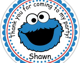 Cookie Monster Sesame Street- Personalized Stickers, Party Favor Tags, Thank You Tags, Gift Tags, Address labels, Birthday, Baby Shower