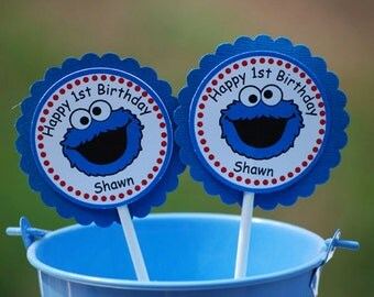 Cookie Monster Sesame Street Cupcake Toppers - Set of 12 Personalized Birthday Party Decorations