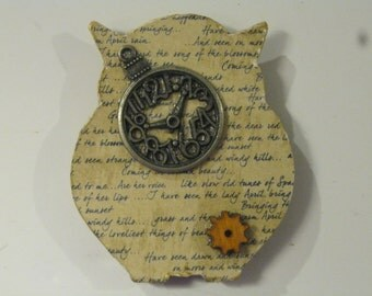 Wooden Owl Magnet with Antique Brass Pocket Watch and Wood Gear