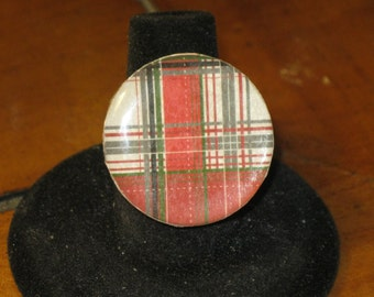 Red and Green Plaid Round Mirror Tile Adjustable Ring