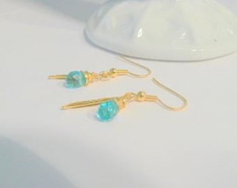 Fine Jewelry Blue Topaz 14k Gold Earrings Wire Wrapped