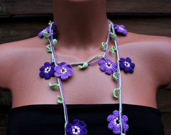 Crochet Necklace Lilac and Purple, Lariat Necklace, Open End Necklace, OYA necklace, Bridesmaids gift
