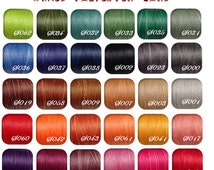 1 mm-Waxed Ploy/Polyester Cord/ Thread(flat)-38 colors options-leather works, beading, friendship bracelet