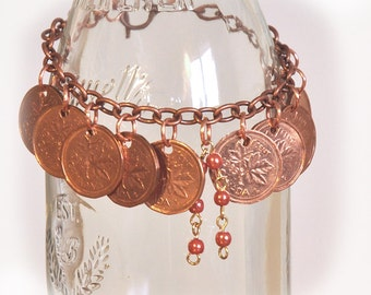 Upcycled, Repurposed, Coin Bracelet, Canadian Penny Bracelet 1980s, 10 penny bracelet, Coin charm copper bracelet, Retro, OOAK
