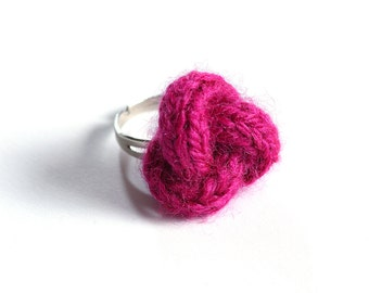 Knitted yarn ring, fiber ring, knit jewelry, yarn jewelry, fuchsia