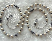 EYEGLASS CHAIN, Black Onyx and Pearls