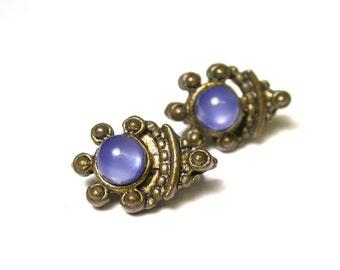 Vintage Earrings - Elegant Gold Tone and Blue Glass Earrings - Pierced