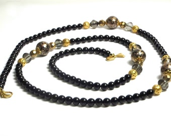 Vintage Black and Gold Round Beads Necklace - 36 Inches Long # 1567