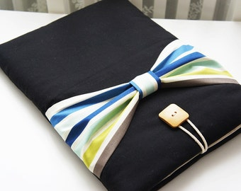 13 inch Laptop Sleeve - Three Style Movable Bow Macbook Air-Pro Cover - Padded Sleeve - Wood Button