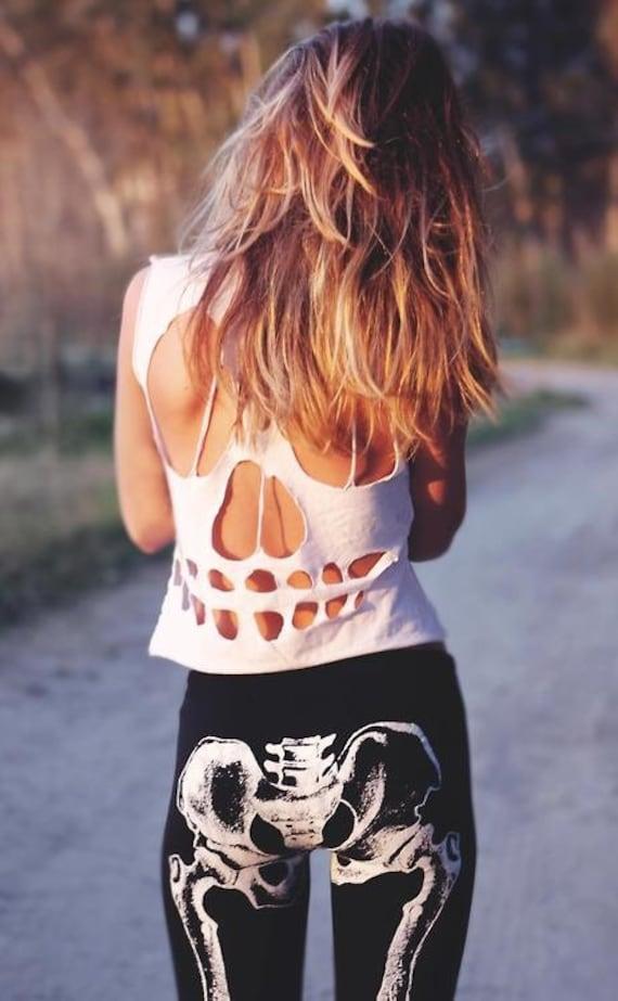Hipster cut out skull crop top t shirt
