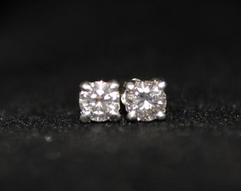 Platinum Art Deco 3/4 Ct Diamond Stud Earrings - Stunning & Tons of Brillance