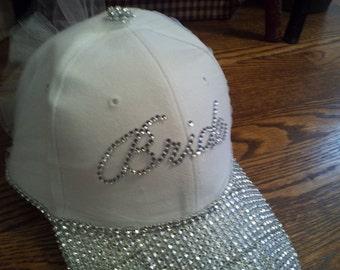 Blinged out. Bride baseball hat