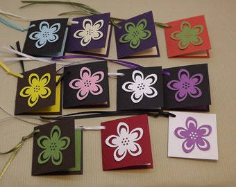 Folded Mini Tags with Strings - Colorful Flower Accent lined tags- Set of 10