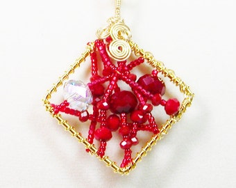 Wire Wrapped Pendant Necklace, Red Crystal Wrapped Necklace, Red Crystal Necklace, Pendant Necklace, Red Necklace