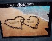 8 X 12 Custom Slate Name in the sand Beach Ocean Hearts
