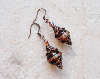Dark Caramel Earrings Lampwork and Copper