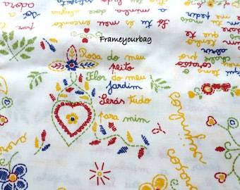 """cotton fabric """"lenço dos namorados"""" print 1 x 1,60 m (39,37x63 inch)"""