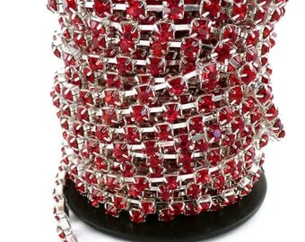 1m (39,37in) Silver colour strass 3x3mm red  cristal stone chain for making bracelets