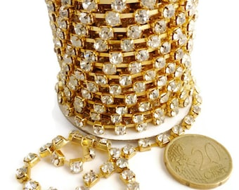 9m (9,84 yd) Golden colour strass 4x4mm  cristal stonechain for making bracelets