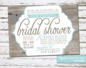 Country / Rustic Theme Bridal Shower Invitation