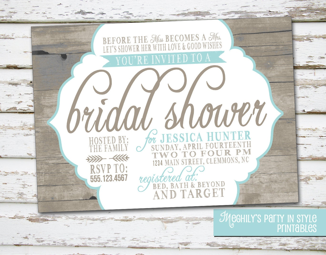 Country / Rustic Theme Bridal Shower Invitation by Meghilys