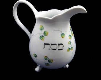 Personalized Hand Painted Porcelain  Pitcher for Passover