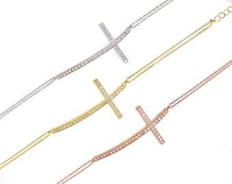 Large Sideway Cross Bracelet