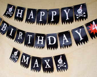 Pirate Party Birthday Banner- Printable-Customized