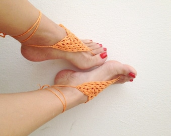 Orange Barefoot Sandals, Nude shoes, Foot jewelry, Wedding, Victorian Lace, Sexy, Lolita, Yoga, Anklet