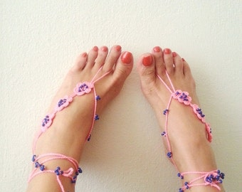 Christmas in July SALE Pink with blue beads flowers Barefoot Sandals,Bridal Accessories,