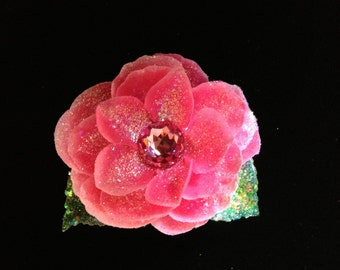 Glittered Pink Open Rose with Large Swarovski Crystal Center on Alligator Hair Clip- Handmade Floral Headpiece