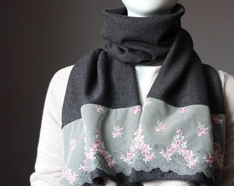 Grey  scarf, lace and jersey scarf in Charcoal gray