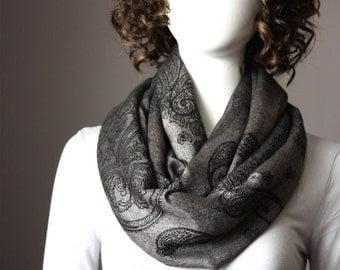 Charcoal Infinity Scarf , gray scarf, dark gray infinity scarf