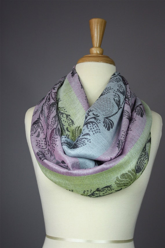 Lurex infinity scarf  pastel colors  with a floral  stem design