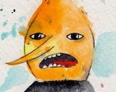 Lemongrab Micro print / Archival reproductions 3.5x2.5 artist card. Adventure Time Fan Art Watercolor Painting Drawings