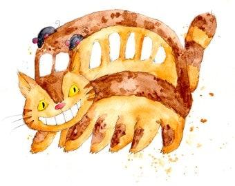 Catbus from My Neighbor Totoro Print  8.5x11 inch inkjet print art painting Hayao Miyazaki