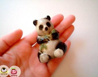 Little Ceramic Panda Figure, panda figurine, miniature animal, decoration, small, tiny, ceramic animal, black, white, china, chinese
