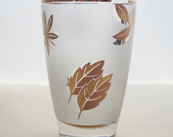 Vintage Set of two Libbey 12oz. Frosted Beer Glasses with Gold Leaves  Mid Century Modern  Barware,  Glassware,  Bar Glass